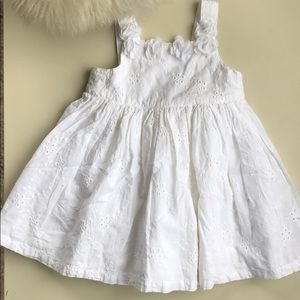 Little Me White Cotton Dress with flower motif